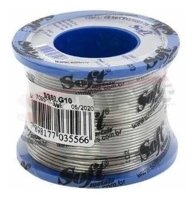 Carretel Rolo Fio De Solda 1mm 200g 60x40 Estanho Soft Metal