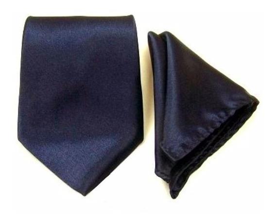 Gravatas E Lenço Premium Azul Marinho, Casamentos, Padrinhos