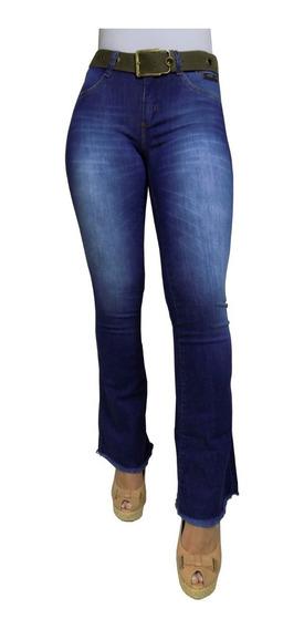 Calça Flare Jeans Feminina Cintura Alta Boca De Sino Brinde