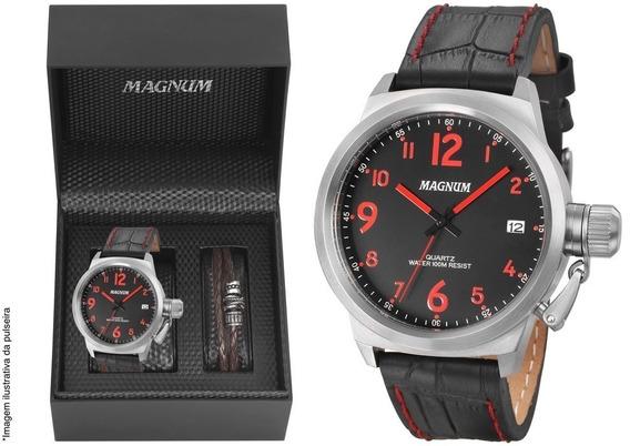 Relógio Magnum Masculino Kit Com Pulseira Ma33442z