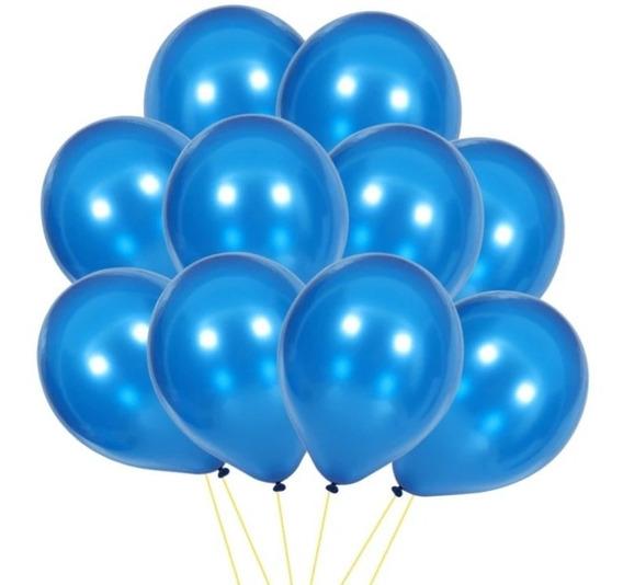 10 Globos Perlados Azul 12 Pulgadas