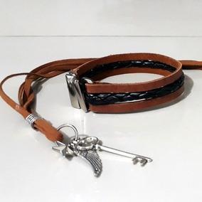 Colar Maculino Asa De Anjo + Pulseira Leather And Straight (