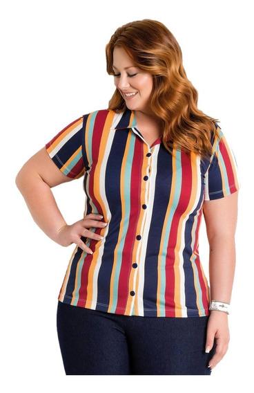Camisa Feminina Blusa Plus Size Listrada Manga Curta Botões