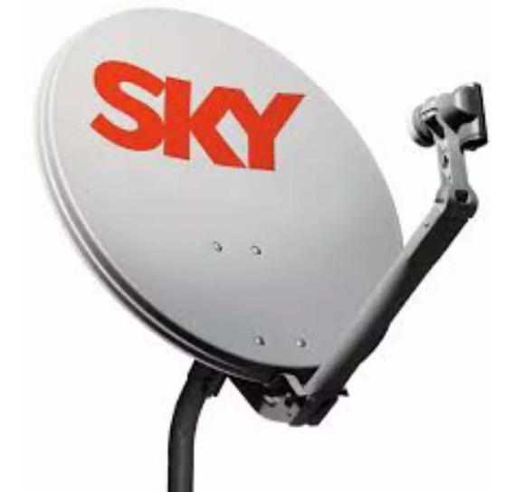 1 Antena Ku 60 Cm Com Logo Da Sky 1 Lnb Duplo 1 Kit Cabo Rg 59 De 15 Metros