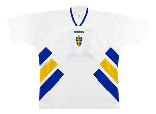 Camisa Suécia 1994 Retrô Larsson #11 Pronta Entrega