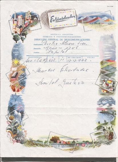 Argentina 1962 Telegrama De Lujo Muy Tematico - 510