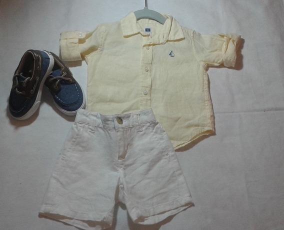 Camisa Social Em Linha Para Bebe Janie And Jack 3/6 M