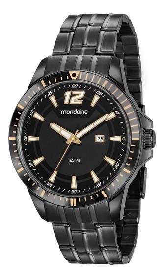 Relógio Pulso Masculino Preto Mondaine Analógico + Nf