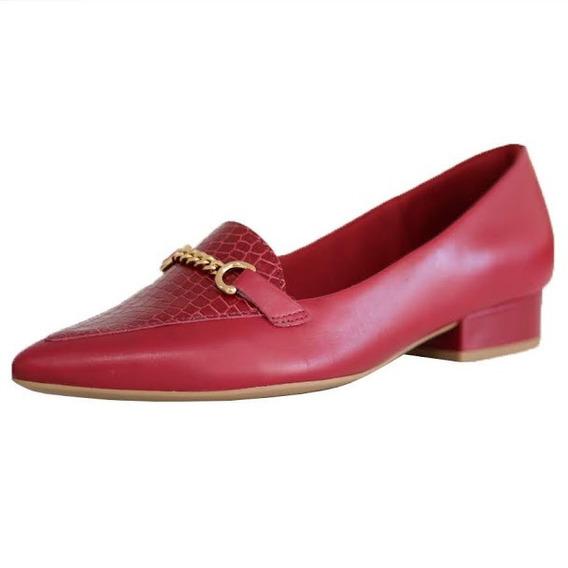 Sapato Salto Quadrado Couro Legitimo Confort Usaflex 6604