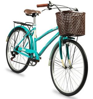 Bicicleta De Paseo Olmo Dama Vintage Amelie Rodado 26 Turquesa