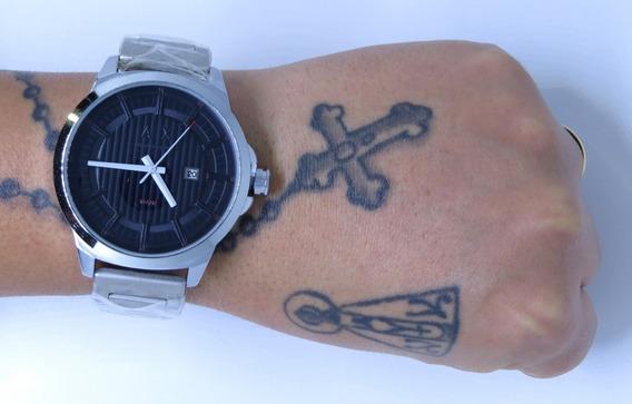 Relógio Grande Pesado Dourado Prata Aço + Pulseira Aço Inox