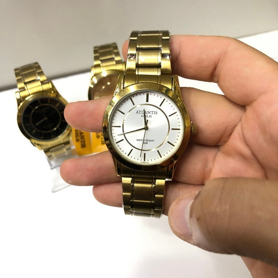 Relógio Masculino Dourado Atlantis Original Casual C/ Cx