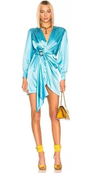 Vestido Mujer Manga Larga Seda Azul Diseñador Xs S M L