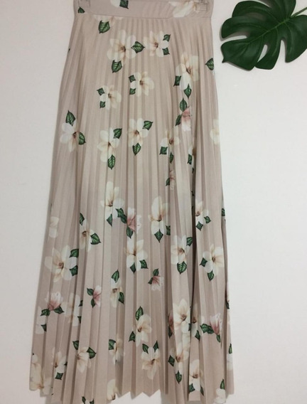 Saia Plissada Longa Rodada Floral Cintura Alta Novidade Top