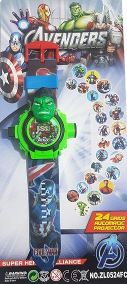 Relógio Digital Projetor De Imagens Infantil Vingadores Hulk
