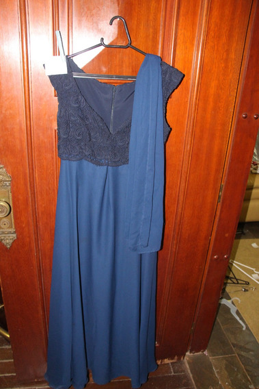 = Roupa Lote 572 Mulher Vestido De Festa Azul Echarpe Bordad