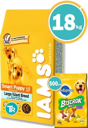 Imagen 1 de 7 de Ración Perro - Iams Cachorros Grandes + Obsequio Y E. Gratis