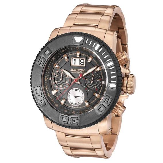 Relógio Magnum Masculino Cronógrafo Rose Aço Grande Usado