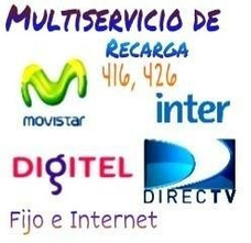 Recarga Saldo Movistar, Digitel, Inter, Directv Movistar Tv