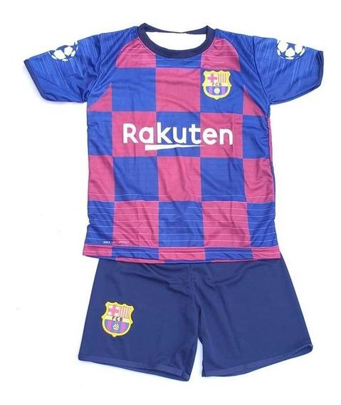 Conjunto Barcelona Infantil Uniforme Camisa E Shorts Crianç