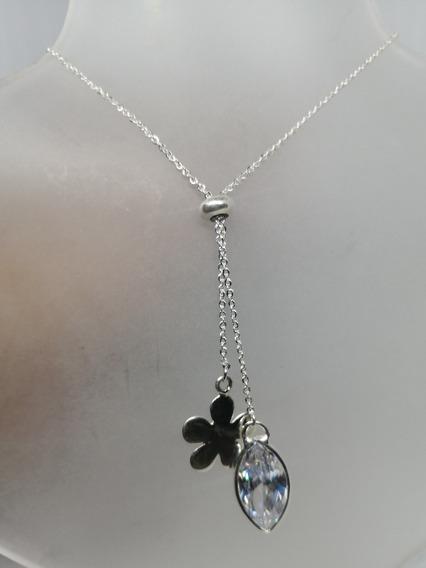 Collar Ajustable Flor Lisa Y Cristal Zirconia Plata 925 Ley