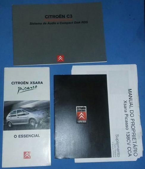 Lote De Livretos Manual Proprietario Citroen C3 Picasso