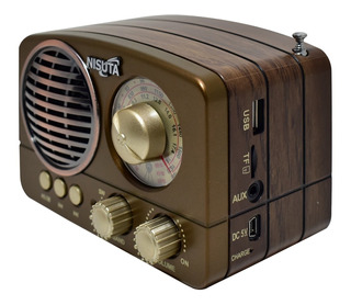 Parlante Recargable Portátil Vintage Bluetooth Usb Radio