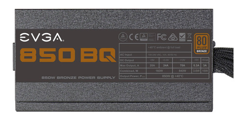 Fuente De Poder Gamer Evga 850 Bq, 80plus Bronze 850w