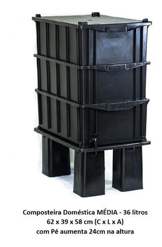 Composteira Doméstica M 36 Litros (cpc36fp) C/ Pé