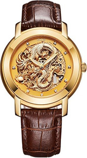 Bos Mens Automatico Reloj Mecanico De Lujo Rose Gold Case Es