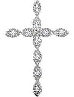 Colgantes De Moda Para Mujer .10ctw Scalloped Cross Pen 14kw
