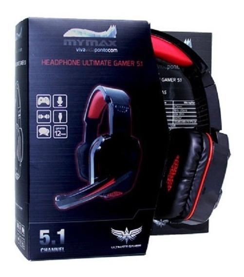 Headphone Gamer Usb 2.4m Cabo Nylon Preto/vermelho