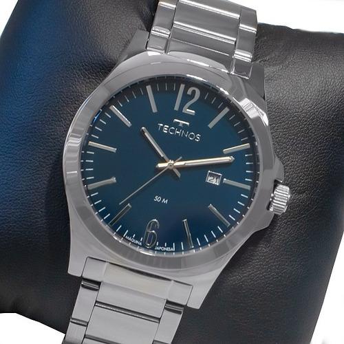 Relógio Technos Masculino Prata Azul Original Com Calendário