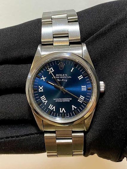 Rolex Air King , Blue Dial , Impecavel , Aço , Na Caixa!!!