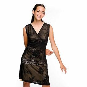 & Vestido Desigual Tipo Encaje Negro S Nuevo Con Envío