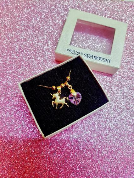 Unicornio Chapa De Oro Y Corazón Swarovski Original Con Caja