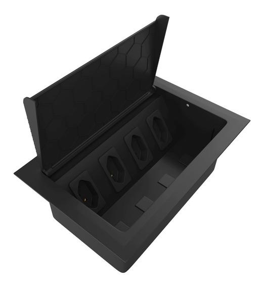 Caixa De Tomada Embutir Mesa Escritório Com 4 Tomadas Preto