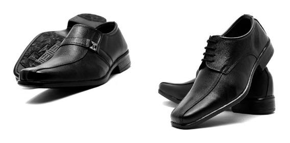 Sapato Social Masculino Em Couro Legítimo Kit 2 Pares