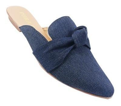 Mule Feminina Bico Fino Jeans Confortável Promoção Sapatilha