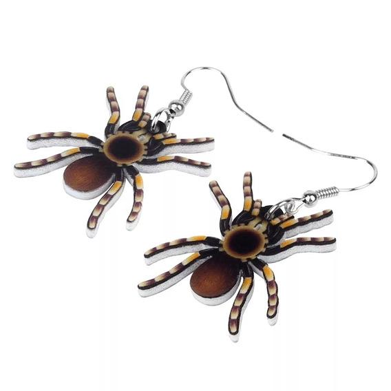 Par De Brincos Em Acrílicos Aranha Spider Pequenos Halloween