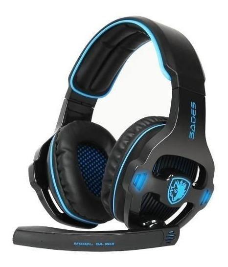 Fone De Ouvido Headset Gamer Usb 7.1 Microfone Sades 903 Pc