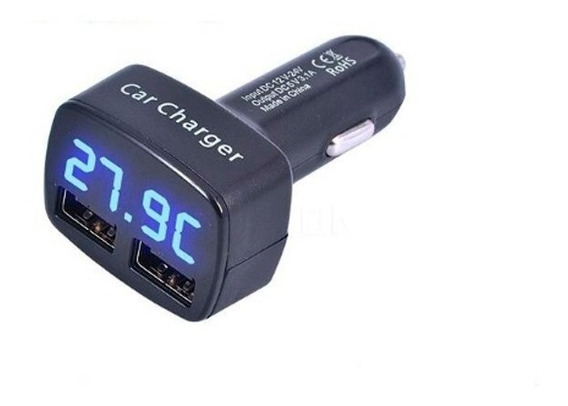 Carregador Veicular Usb Medidor Bateria E Temperatura