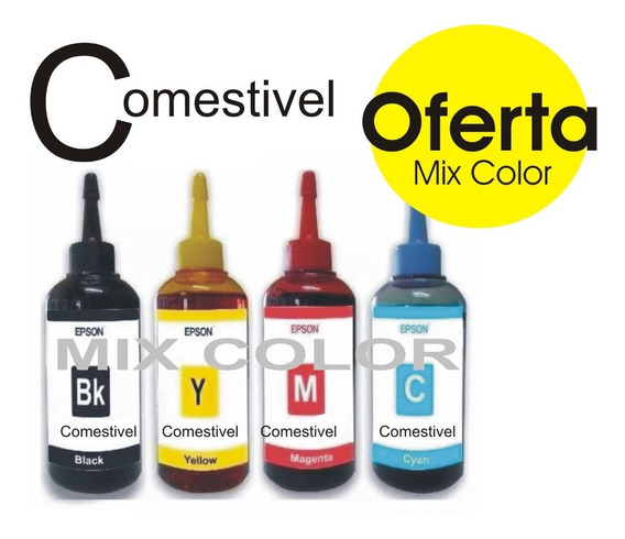 Kit Tinta 400ml Comestivel Epson Ecotank Para Papel Arroz