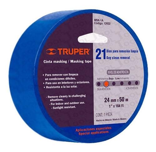 Imagen 1 de 4 de Masking Tape Adherencia Baja Azul Truper 12621 19mm 15002460