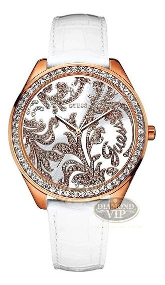 Relógio Guess Feminino Original Pulseira Couro Branco Ouro