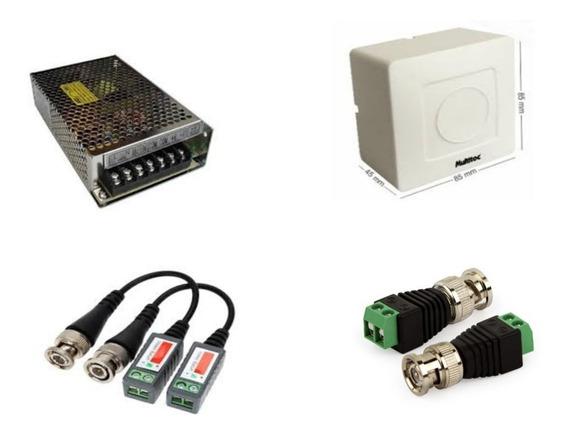 Kit Fonte 10 A C/ Caixa Sobrepor, Balun E Conectores