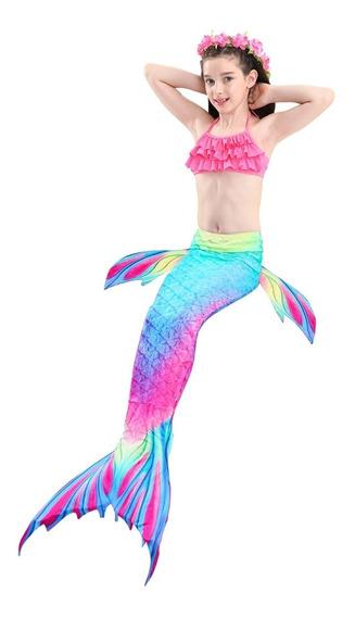 Promoción Sirena Cola Y Bikini Niñas Set 3 Envío Gratis