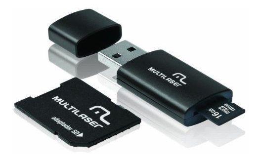 Cartão De Memória Micro Pen Drive Sd 16gb Leitor Usb