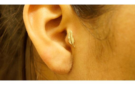 Piercing Orelha Tragus Pena Em Ouro 18k