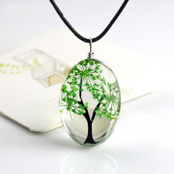 Colar Vidro Arvore Da Vida Verde